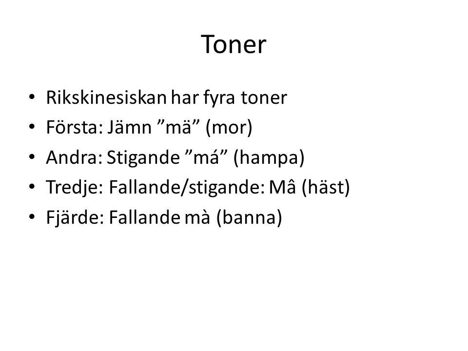 Toner Rikskinesiskan har fyra toner Första: Jämn mä (mor)