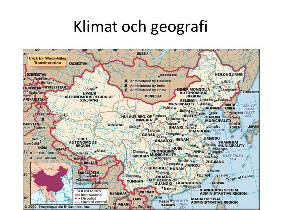 Klimat och geografi 22 provinser, 5 autonoma regioner, fyra direktstyrda städer. Gränsen mellan norr och söder: Qinling-bergen och Huai-floden.
