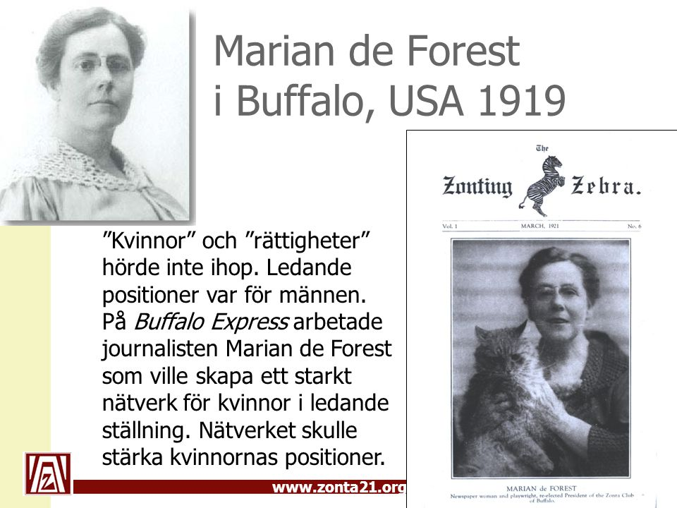 Marian de Forest i Buffalo, USA 1919