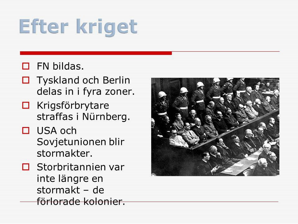 Efter kriget FN bildas. Tyskland och Berlin delas in i fyra zoner.