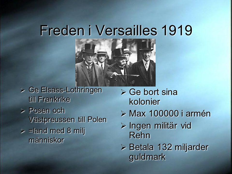 Freden i Versailles 1919 Ge bort sina kolonier Max 100000 i armén