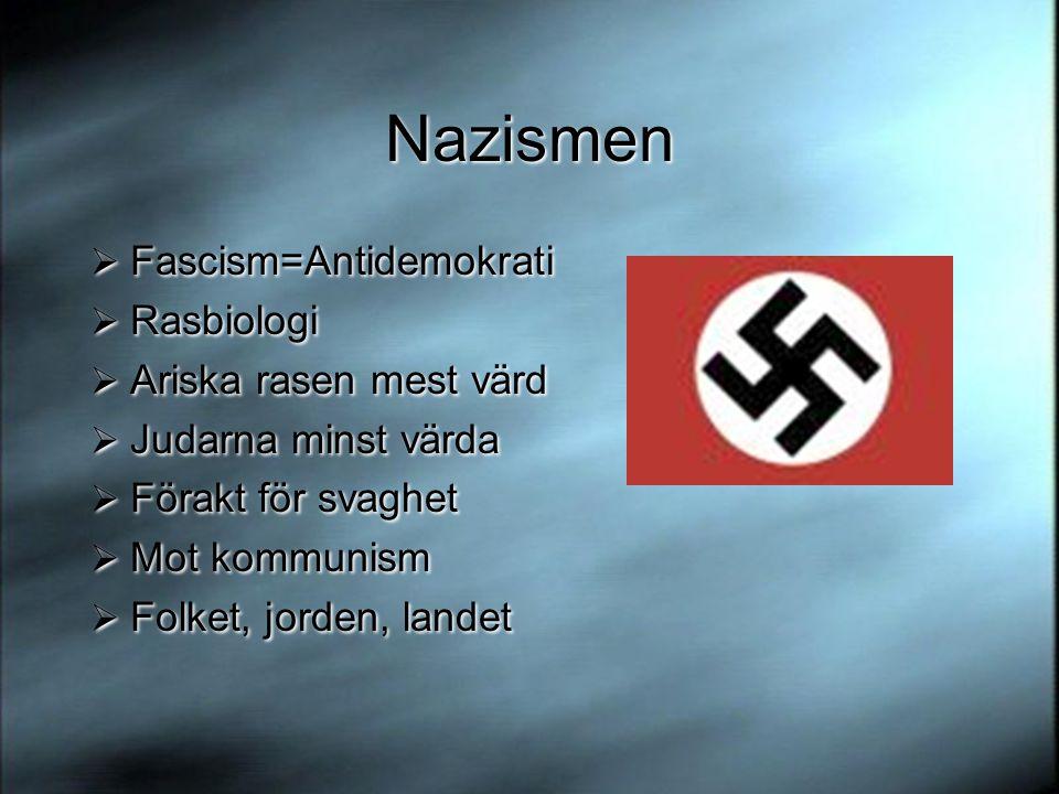 Nazismen Fascism=Antidemokrati Rasbiologi Ariska rasen mest värd