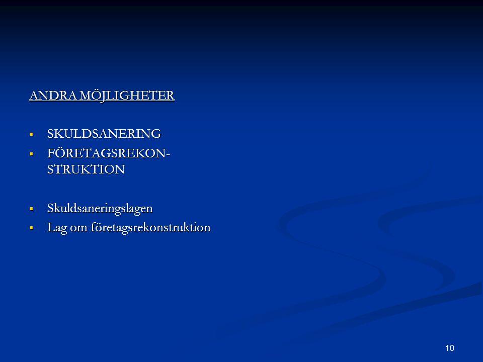 ANDRA MÖJLIGHETER SKULDSANERING. FÖRETAGSREKON- STRUKTION.