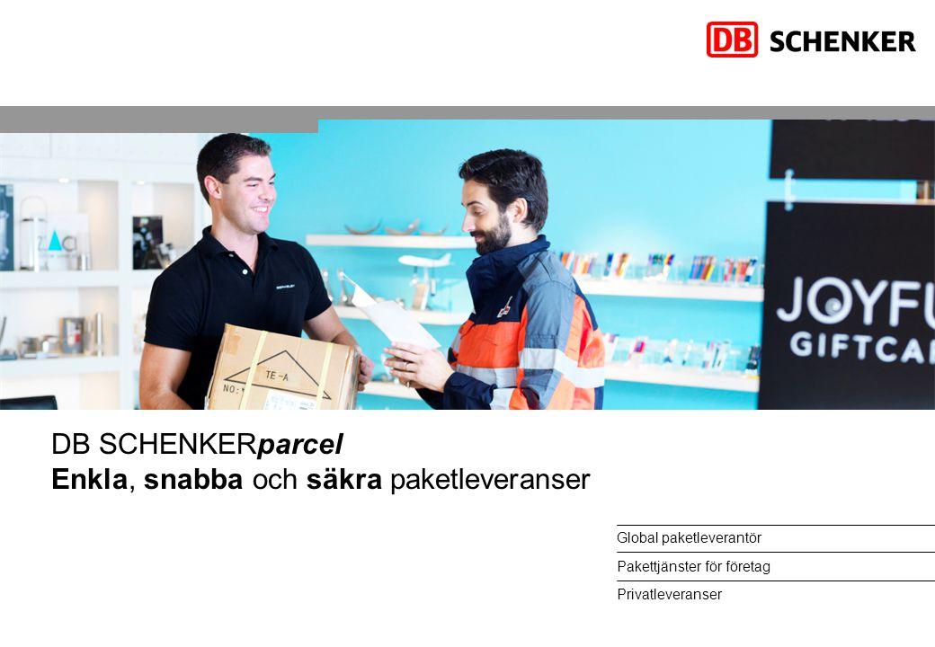 DB SCHENKERparcel Enkla, snabba och säkra paketleveranser