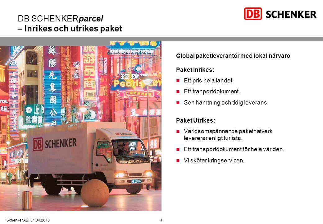 DB SCHENKERparcel – Inrikes och utrikes paket