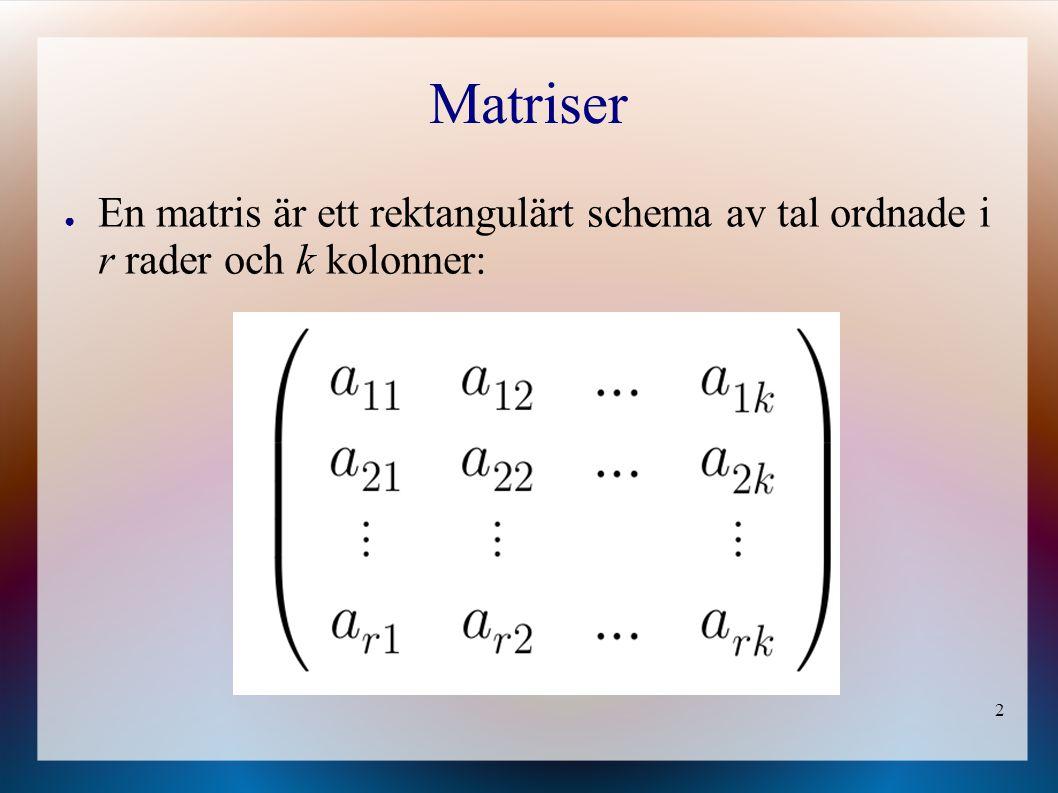 Matriser En matris är ett rektangulärt schema av tal ordnade i r rader och k kolonner: