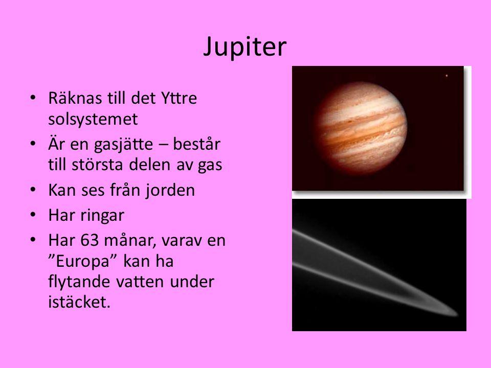 Jupiter Räknas till det Yttre solsystemet