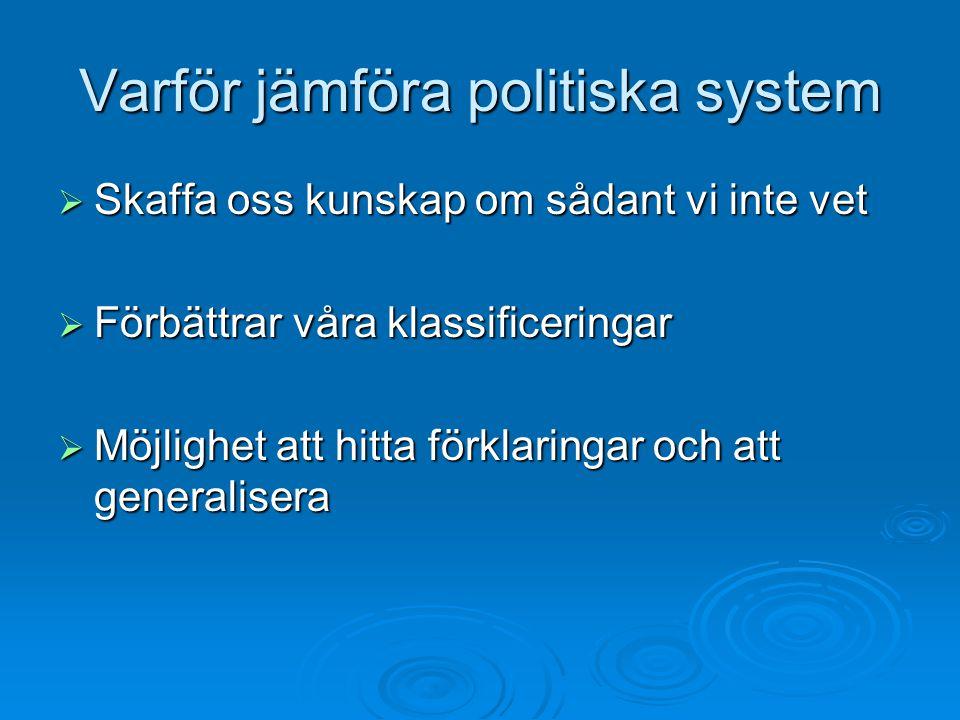 Varför jämföra politiska system