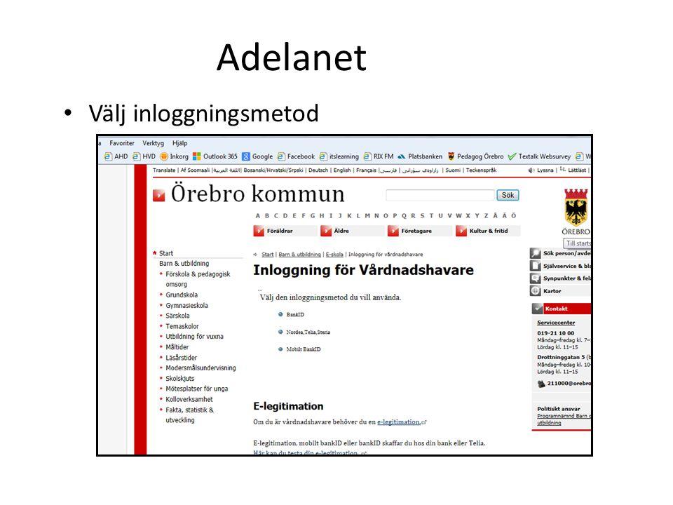 Adelanet Välj inloggningsmetod