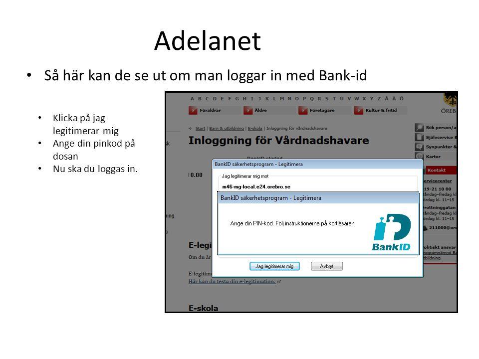 Adelanet Så här kan de se ut om man loggar in med Bank-id