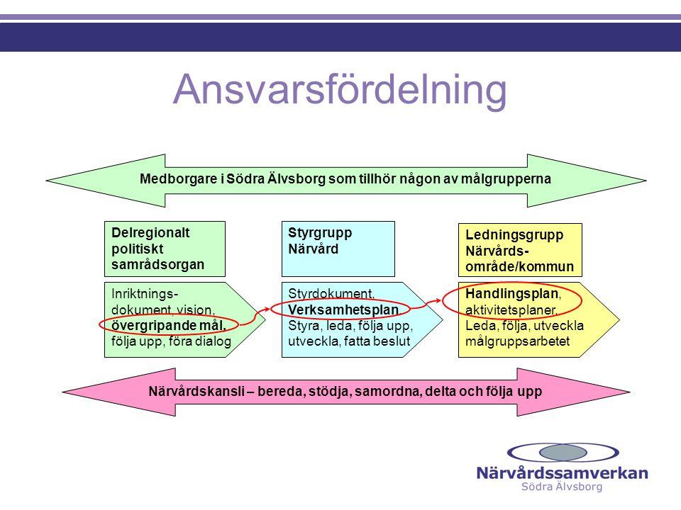 Ansvarsfördelning Medborgare i Södra Älvsborg som tillhör någon av målgrupperna. Delregionalt politiskt samrådsorgan.