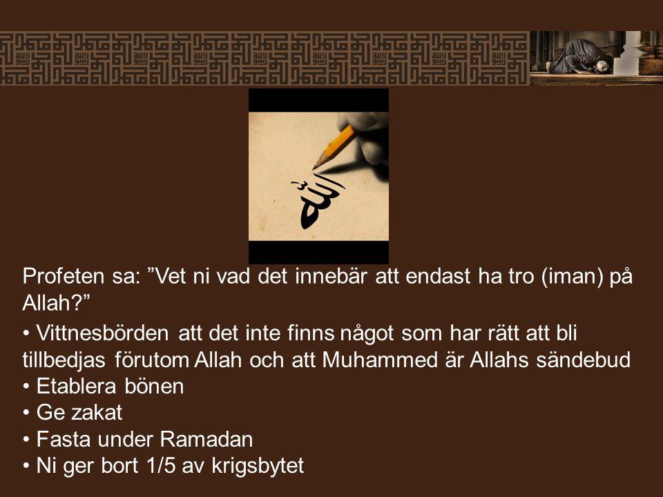 Profeten sa: Vet ni vad det innebär att endast ha tro (iman) på Allah