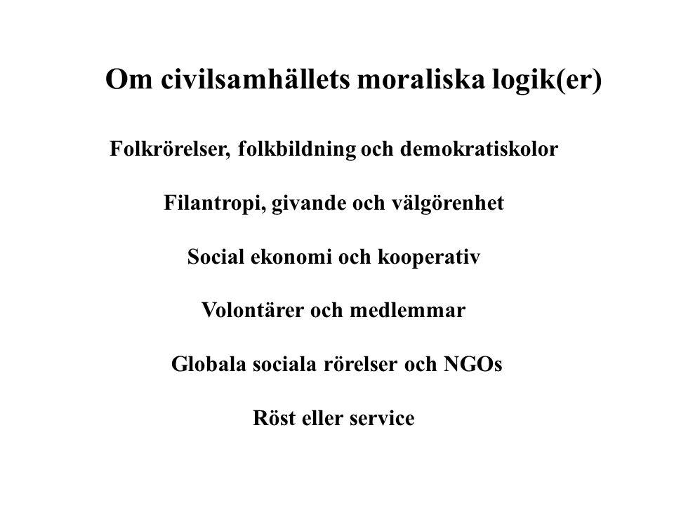 Om civilsamhällets moraliska logik(er)