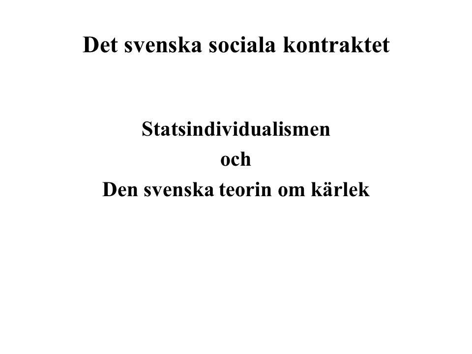 Det svenska sociala kontraktet