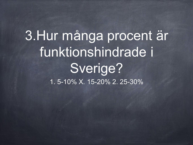 3.Hur många procent är funktionshindrade i Sverige