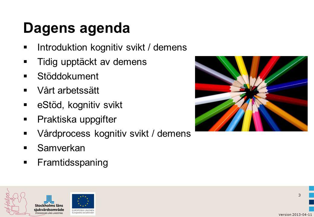 Dagens agenda Introduktion kognitiv svikt / demens