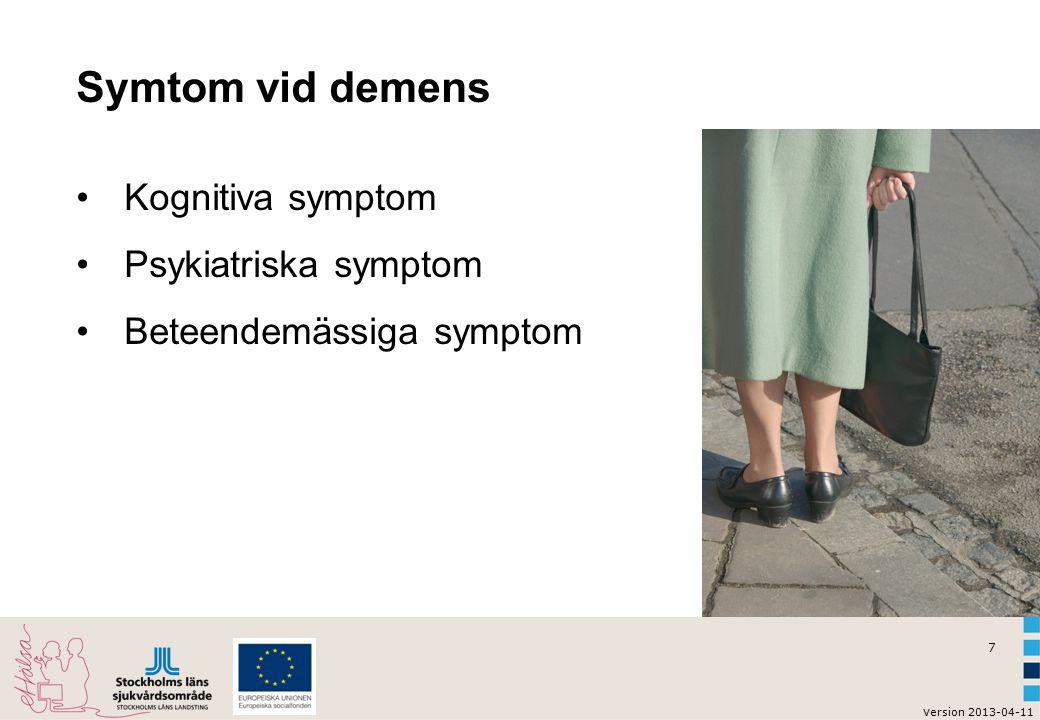Symtom vid demens Kognitiva symptom Psykiatriska symptom