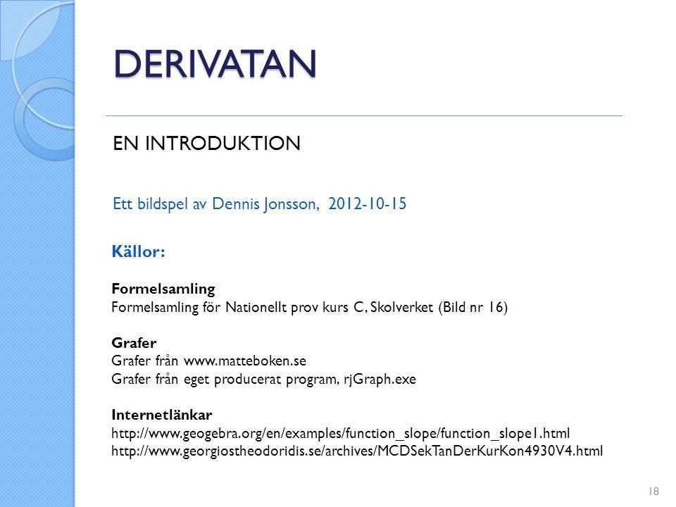 DERIVATAN EN INTRODUKTION Ett bildspel av Dennis Jonsson, 2012-10-15