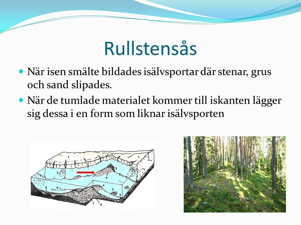 Rullstensås När isen smälte bildades isälvsportar där stenar, grus och sand slipades.