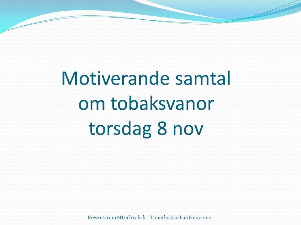 Motiverande samtal om tobaksvanor torsdag 8 nov