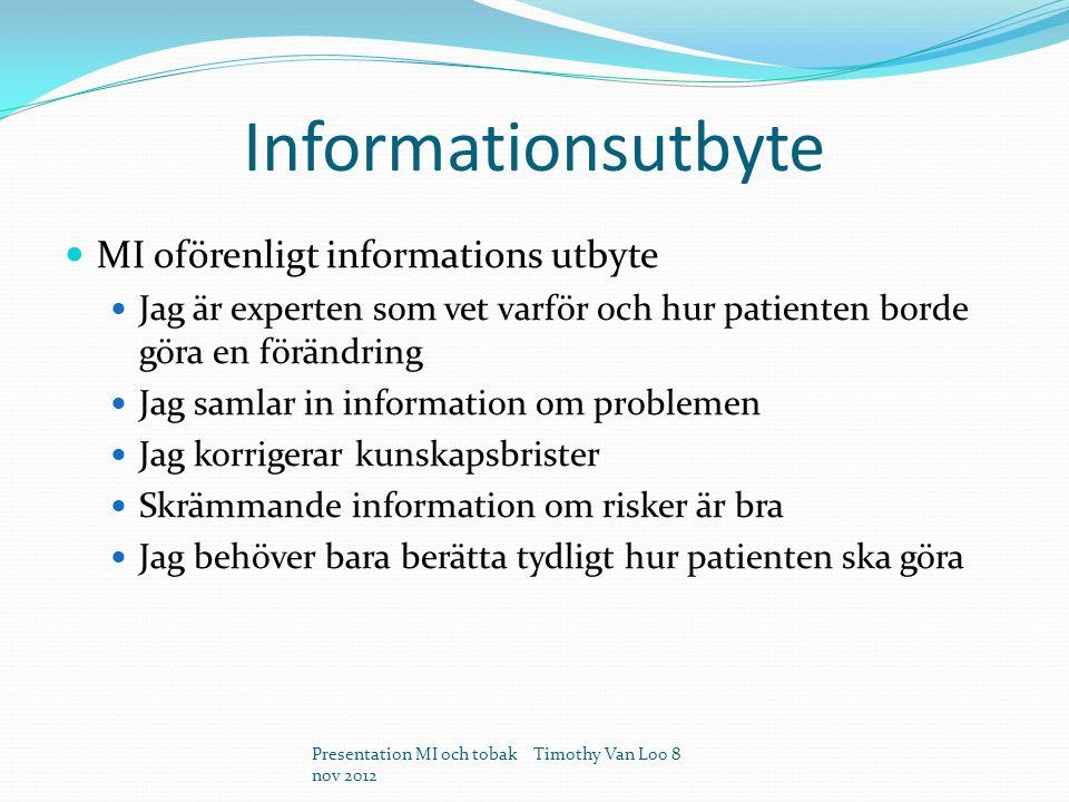 Informationsutbyte MI oförenligt informations utbyte