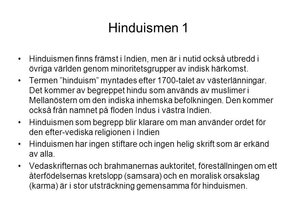 Hinduismen 1 Hinduismen finns främst i Indien, men är i nutid också utbredd i övriga världen genom minoritetsgrupper av indisk härkomst.