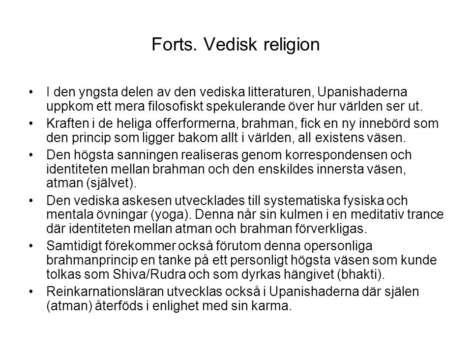 Forts. Vedisk religion