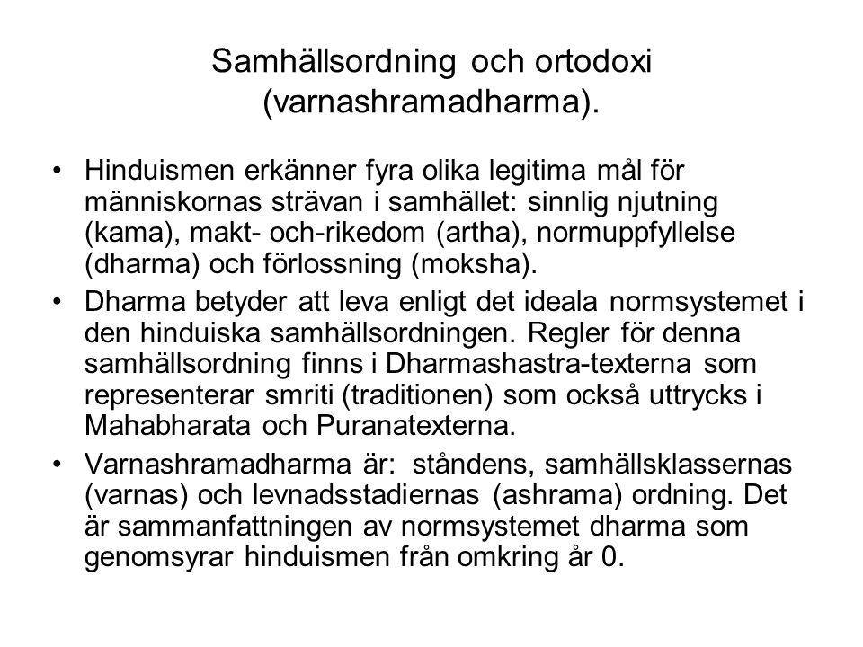 Samhällsordning och ortodoxi (varnashramadharma).