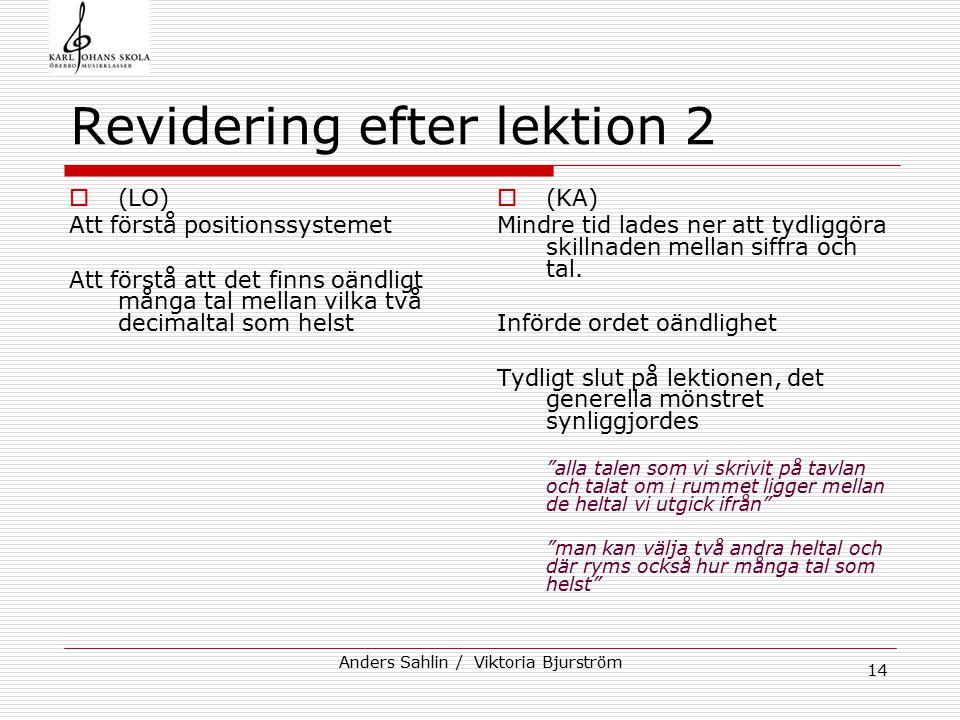 Revidering efter lektion 2