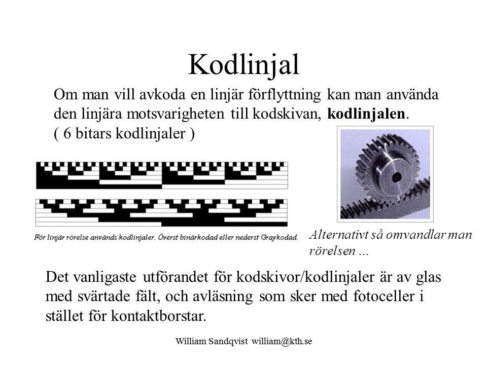 Kodlinjal Om man vill avkoda en linjär förflyttning kan man använda den linjära motsvarigheten till kodskivan, kodlinjalen. ( 6 bitars kodlinjaler )