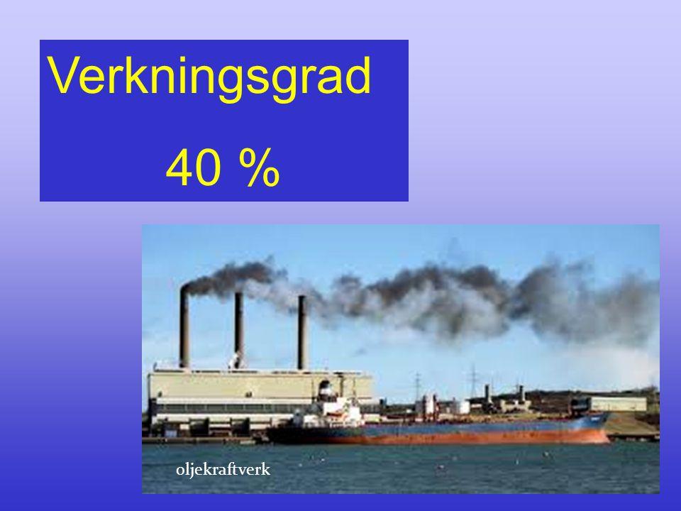 Verkningsgrad 40 % oljekraftverk