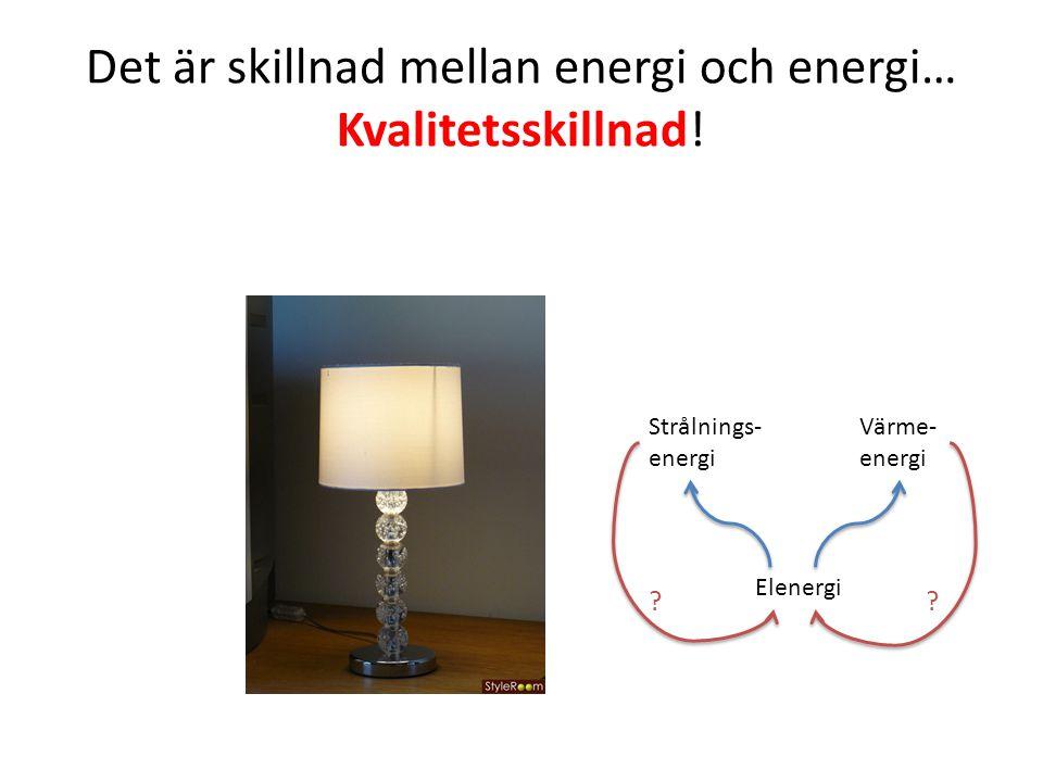 Det är skillnad mellan energi och energi… Kvalitetsskillnad!