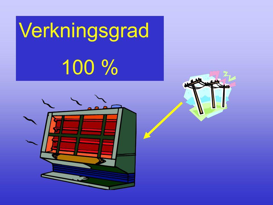 Verkningsgrad 100 % Här är verkningsgraden 100%, men elenergi av högsta kvalité omvandlas direkt till värmeenergi av mycket låg kvalité.