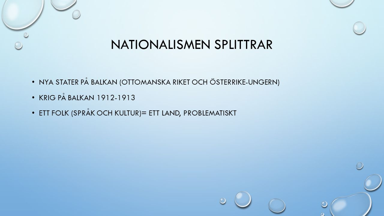 Nationalismen splittrar