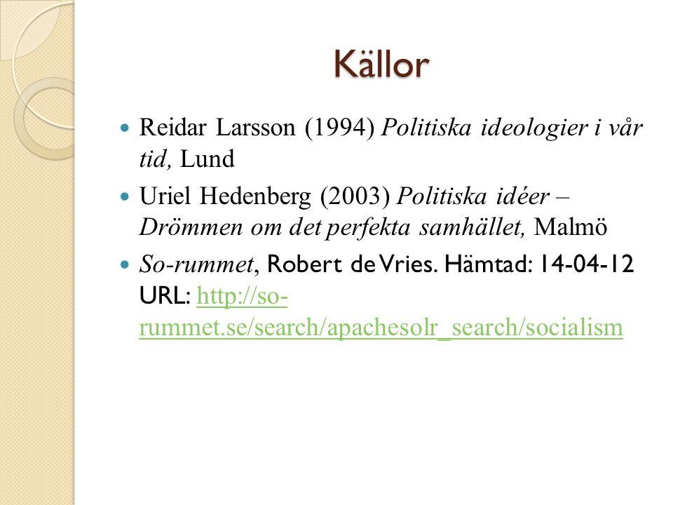Källor Reidar Larsson (1994) Politiska ideologier i vår tid, Lund