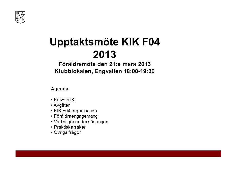 Föräldramöte den 21:e mars 2013 Klubblokalen, Engvallen 18:00-19:30