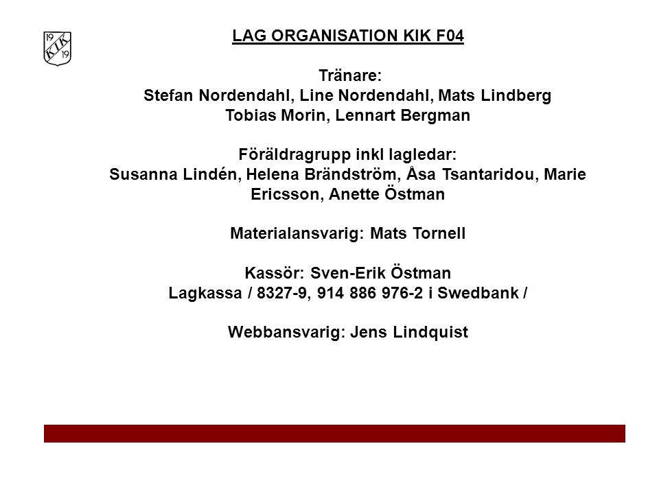 Tränare: Stefan Nordendahl, Line Nordendahl, Mats Lindberg