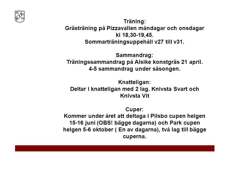 Träning: Grästräning på Pizzavallen måndagar och onsdagar kl 18,30-19,45. Sommarträningsuppehåll v27 till v31. Sammandrag: Träningssammandrag på Alsike konstgräs 21 april.