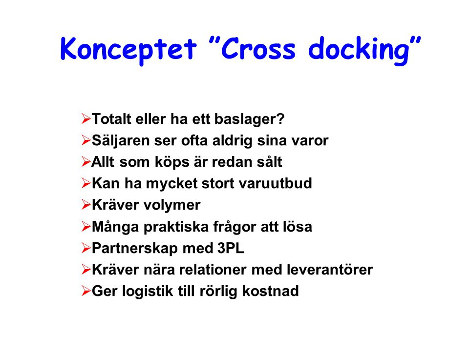 Konceptet Cross docking