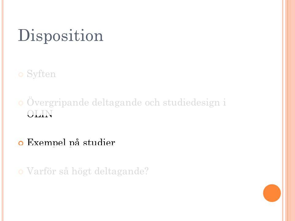 Disposition Syften Övergripande deltagande och studiedesign i OLIN