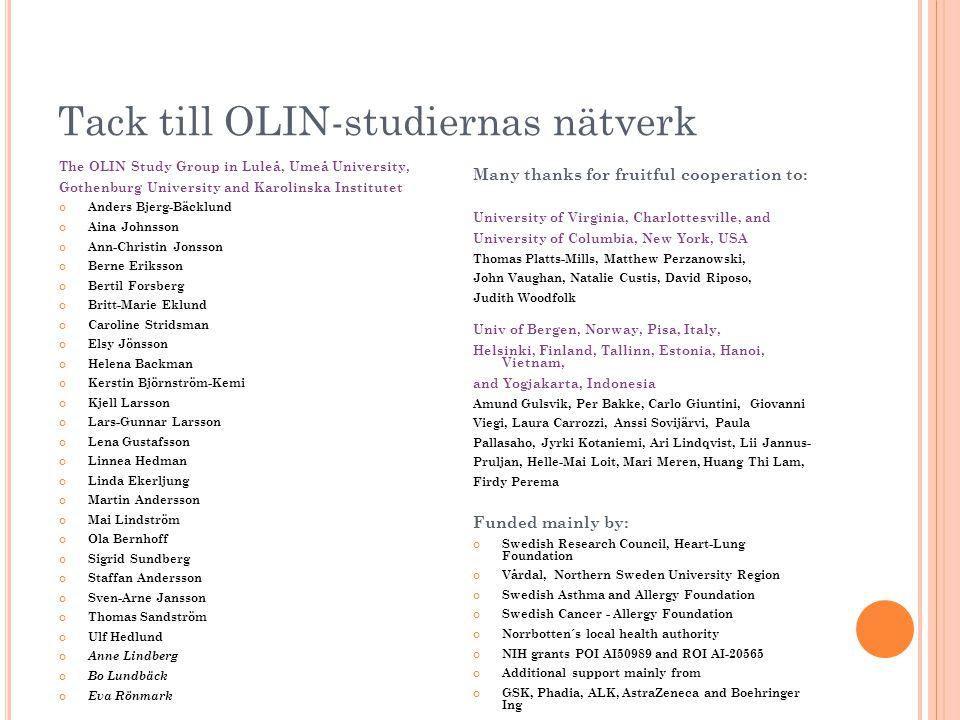 Tack till OLIN-studiernas nätverk