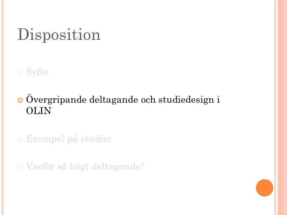 Disposition Syfte Övergripande deltagande och studiedesign i OLIN