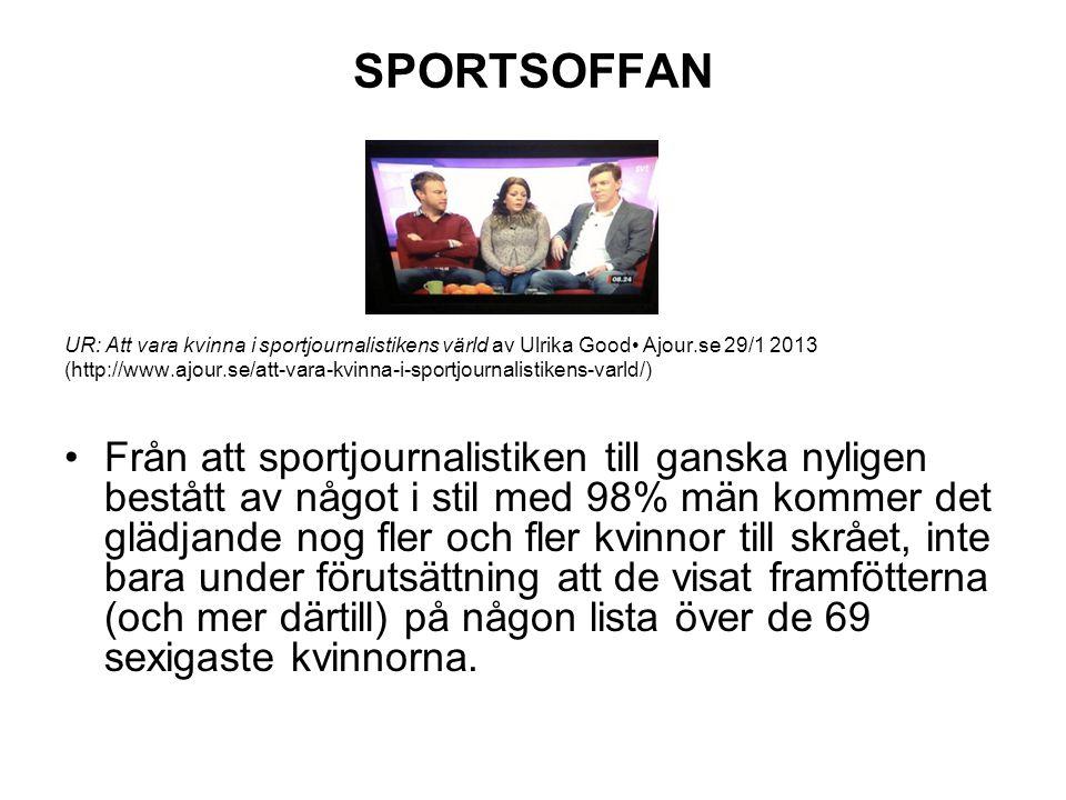 SPORTSOFFAN UR: Att vara kvinna i sportjournalistikens värld av Ulrika Good• Ajour.se 29/1 2013.