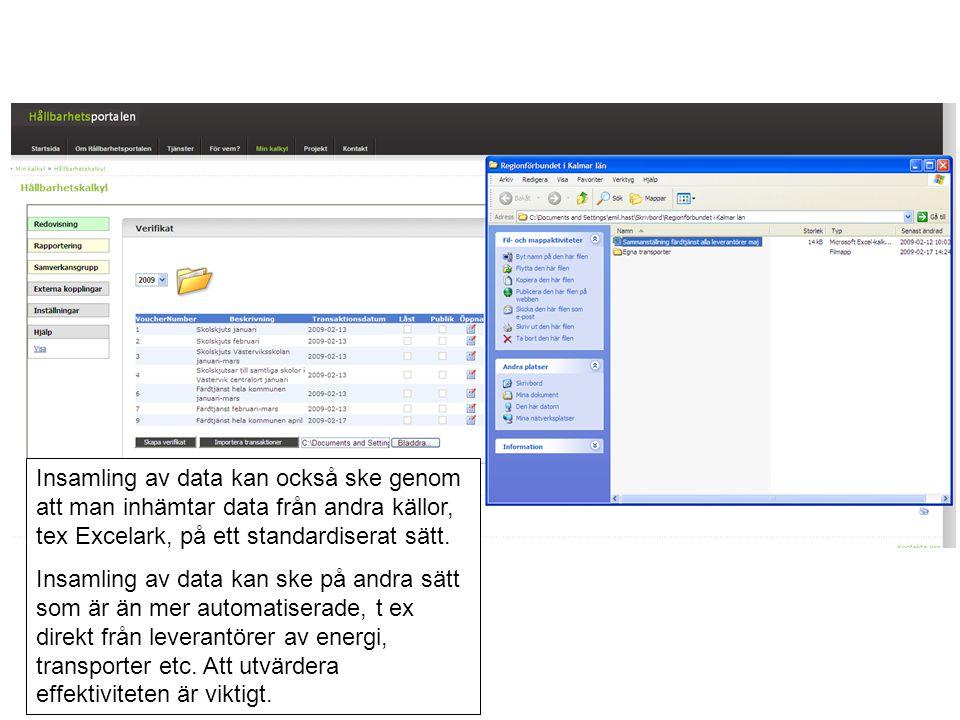 Insamling av data kan också ske genom att man inhämtar data från andra källor, tex Excelark, på ett standardiserat sätt.
