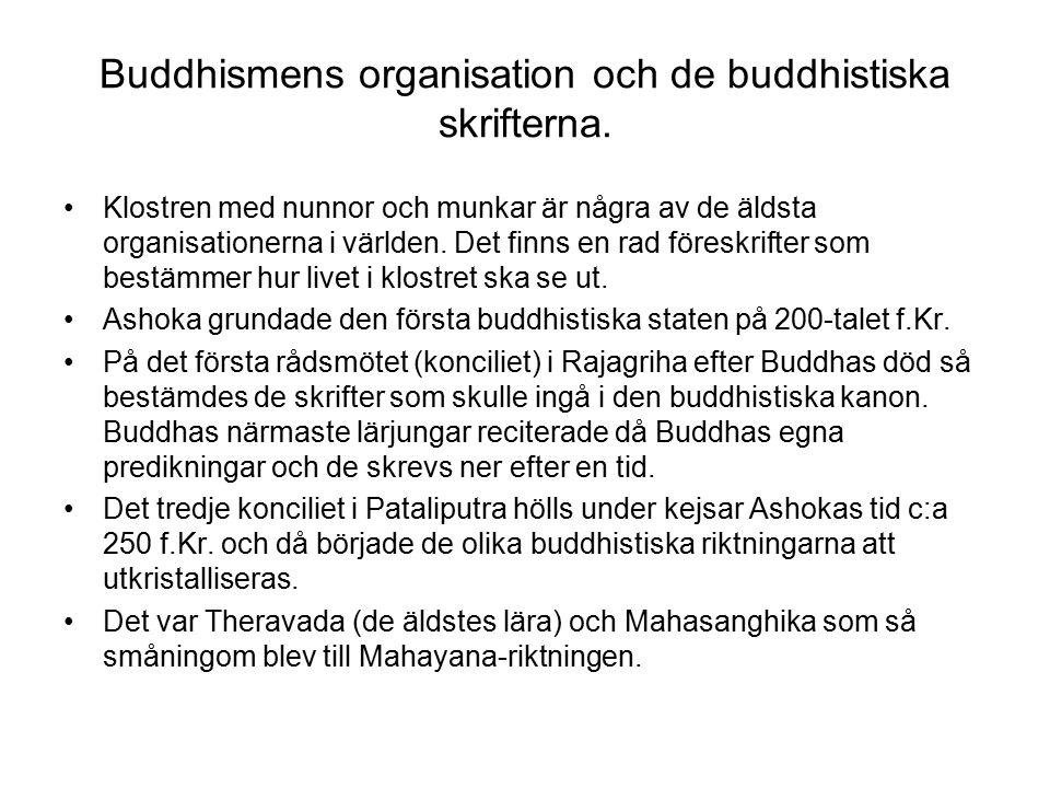 Buddhismens organisation och de buddhistiska skrifterna.