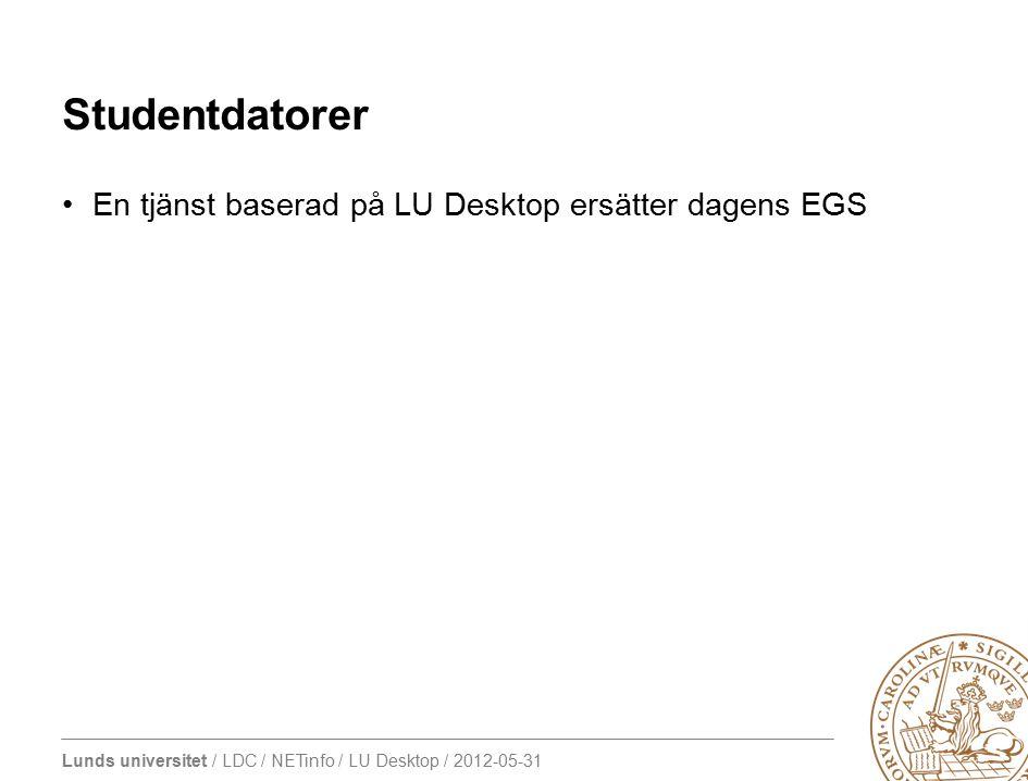 Studentdatorer En tjänst baserad på LU Desktop ersätter dagens EGS