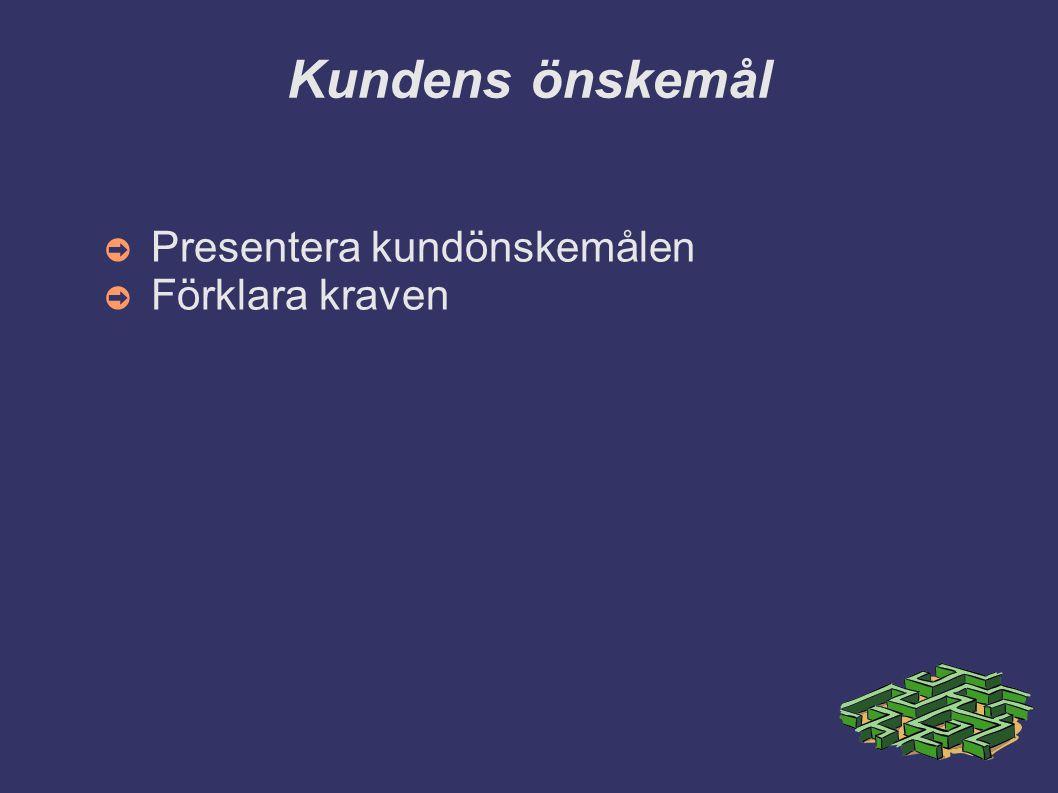 Kundens önskemål Presentera kundönskemålen Förklara kraven