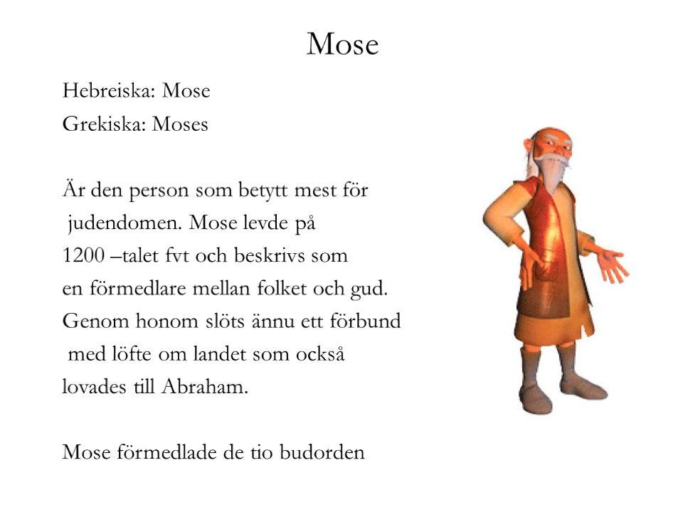 Mose Hebreiska: Mose Grekiska: Moses Är den person som betytt mest för