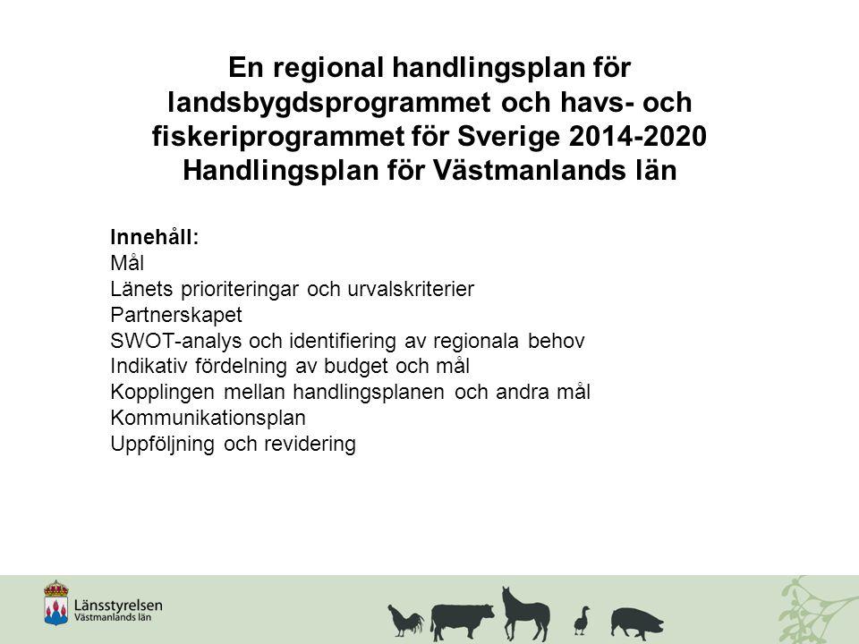 En regional handlingsplan för landsbygdsprogrammet och havs- och