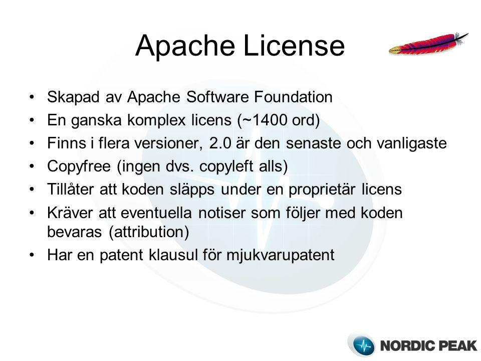 Apache License Skapad av Apache Software Foundation